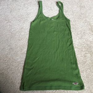 Bright green basic long ribbed tank - Hollister